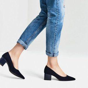 Zara Navy Blue Pointed-toe Block Heels - $45